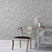 Superfresco Grey/Silver Laos Trail Floral Wallpaper
