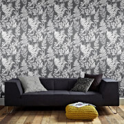 Superfresco Easy Sliver/Grey Farne Grun Floral Wallpaper