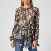 Zimmermann Women's Iris Ruffle Top - Charcoal Floral - 0/UK 6 - Grey