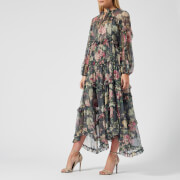Zimmermann Women's Iris Ruffle Resort Dress - Charcoal Floral - 1/UK 8 - Grey