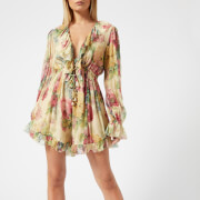 Zimmermann Women's Melody Floating Playsuit - Taupe Floral - 0/UK 6 - Multi