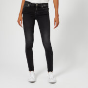 7 For All Mankind Women's Skinny Slim Illusion Jeans - Rebel - W26 - Black