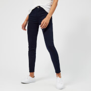 7 For All Mankind Women's High Waist Skinny Crop Jeans - Navy - W28 - Blue