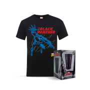 Marvel Comics The Black Panther T-Shirt and Exclusive Black Matte Glass Bundle