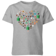 Nintendo Super Mario Pixel Sprites Heart Kids' T-Shirt - Grey