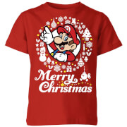 Nintendo Super Mario Merry Christmas Weiß Wreath Kinder T-Shirt - Rot