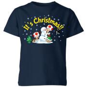 T-Shirt Enfant Toad Bonhomme de Neige Joyeux Noël - Super Mario Nintendo - Bleu Marine