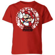 Nintendo Super Mario Weiß Wreath Kinder T-Shirt - Rot