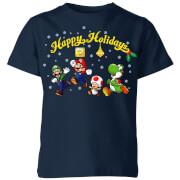 Nintendo Super Mario Good Guys Happy Holidays Kids' Christmas T-Shirt - Navy
