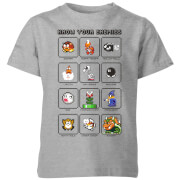 Nintendo Super Mario Know Your Enemies Kid's T-Shirt - Grey