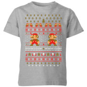 Nintendo Super Mario Mario Ho Ho Ho It's A Me Christmas Kids' T-Shirt - Grey