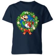 Camiseta Navidad Nintendo Super Mario Luigi Corona Merry Christmas - Niño - Azul marino