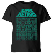 Nintendo Super Metroid Power Suit Blueprint Schwarz Kinder T-Shirt - Schwarz