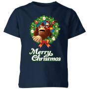 Nintendo Donkey Kong Wreath Merry Christmas Kids' T-Shirt - Navy