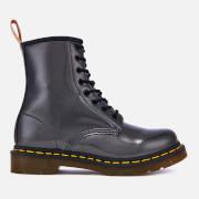 Dr. Martens Women's 1460 Vegan Chrome Metallic 8-Eye Boots - Gunmetal - UK 7 - Grey