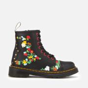 Dr. Martens Kids' 1460 J Pooch Flower T Lamper Leather Lace Up Boots - Black