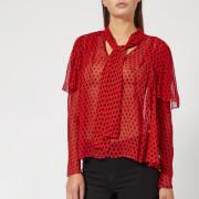 Diane von Furstenberg Women's Neck Tie Blouse - Baker Dot Vermillion - US 10/UK 14 - Red