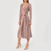 Diane von Furstenberg Women's Long Sleeve Midi Woven Wrap Dress - Baker Dot Small Sienna - US 4/UK 8 - Brown