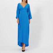 Diane von Furstenberg Women's Long Sleeve Floor Length Wrap Dress - Cobalt - US 2/UK 6 - Blue