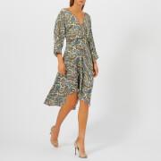 Diane von Furstenberg Women's Asymmetric Hem Dress Mini - Barton Logo Ivory - L - Multi