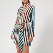 Diane von Furstenberg Women's Long Sleeve Shirt Dress - Carrington Stripe Pacific - L - Multi