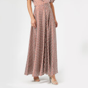 Diane von Furstenberg Women's High Waisted Draped Maxi Skirt - Baker Dot Small Sienna - US 4/UK 8 - Brown