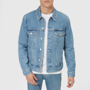 Calvin Klein Jeans Men's Modern Classic Trucker Jacket - Lyon Blue with Patch - L - Blue