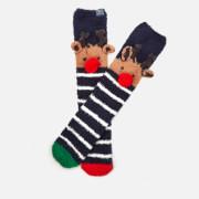 Joules Women's Festive Fluffy Character Socks - Reindeer