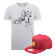 Marvel Comics Iron Man T-Shirt + Snapback Bundle