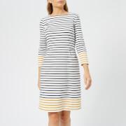 Joules Women's Yvonne Square Neck Interlock Jersey Dress - Cream Gold Stripe