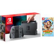 Nintendo Switch Console With Grey Joy-Con & Donkey Kong Tropical Freeze