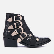 Toga Pulla Women's Buckle Leather Heeled Ankle Boots - Black - UK 3 - Black