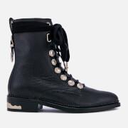 Toga Pulla Women's Grainy Leather Lace-Up Flat Boots - Black - UK 4 - Black