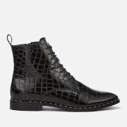 KG Kurt Geiger Women's Tilda Leather Croc Lace-Up Boots - Black - UK 3 - Black