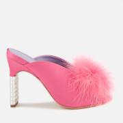 Mulberry Women's Satin Fluff Heeled Mules - Fuchsia - EU 36/UK 3 - Pink