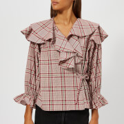 Rejina Pyo Women's Camilla Blouse - Cotton Check Red - L - Multi