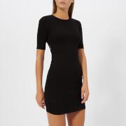 T by Alexander Wang Women's Compact Rib Cut Out Dress with Logo Elastic - Black - L - Black