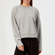 T by Alexander Wang Women's Dry French Terry Distressed Sweatshirt - Heather Grey - L - Grey