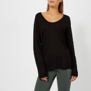 T by Alexander Wang Women's Drapey Jersey Long Sleeve T-Shirt with Darting Detail - Black - L - Black