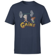 The Flintstones Distressed Bam Bam Gains Men's T-Shirt - Navy
