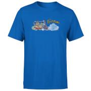 T-Shirt Homme La Famille Pierrafeu Voiture Familiale - Effet Abîmé - Bleu Roi