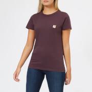Maison Kitsuné Women's Fox Head Patch T-Shirt - Burgundy - L - Burgundy