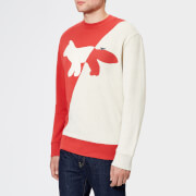 Maison Kitsuné Men's Diagonal Fox Sweatshirt - Ecru/Red - L - Beige/Red