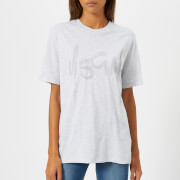 MSGM Women's Crystal Logo T-Shirt - Grey - L - Grey