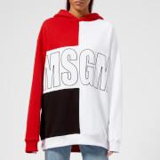 MSGM Women's Contrast Logo Hooded Sweatshirt - Multi - L - Multi