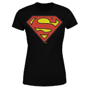DC Originals Official Superman Crackle Logo Women's T-Shirt - Black