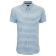 Threadbare Men's Mitts Short Sleeve Shirt - Navy/White Stripe