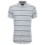 Threadbare Men's Mitts Short Sleeve Shirt - Light Blue/White Stripe