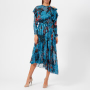 Preen By Thornton Bregazzi Women's Satin Devoré Stephanie Dress - Blue Painted Flower - S - Blue