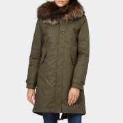 Woolrich Women's Literary Silver Fox Parka - Military Olive - L - Green